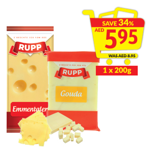 Rupp Emmentaler Natural Cheese Block/ Gouda Natural Cheese Block
