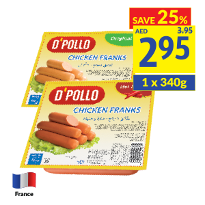 D'Pollo Chicken Franks Original/ Cheese/ Hot and Spicy Pack of 10pcs